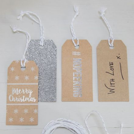 "Brown Kraft, Silver Foiled & Glitter Gift Tags - Pack of 9, ""Merry Christmas"", #NOPEEKING & Silver Glitter"